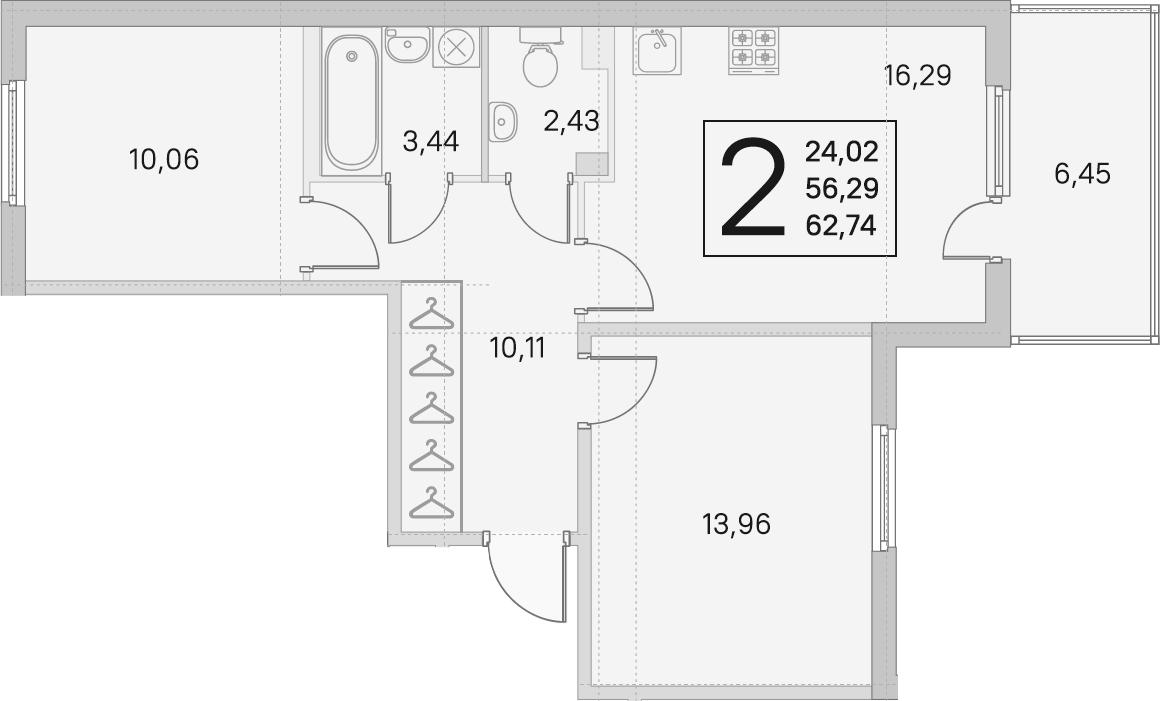 3Е-к.кв, 56.29 м², 2 этаж