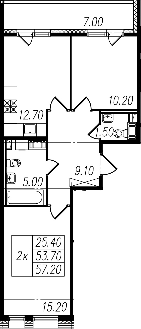 2-к.кв, 53.7 м²