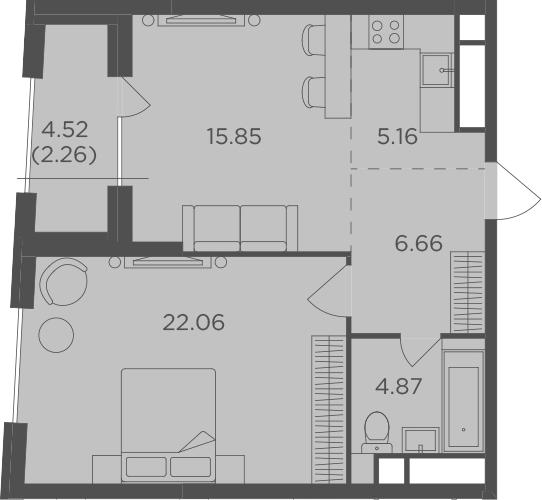 2Е-комнатная, 56.86 м²– 2