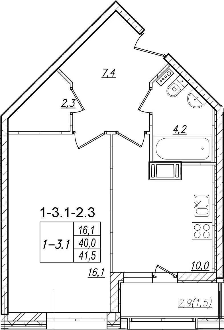 1-комнатная, 41.5 м²– 2