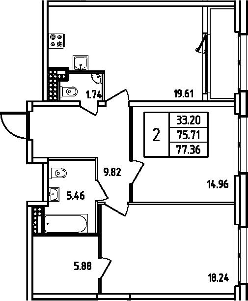3Е-комнатная, 77.36 м²– 2