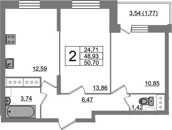 2-комнатная, 50.7 м²– 2