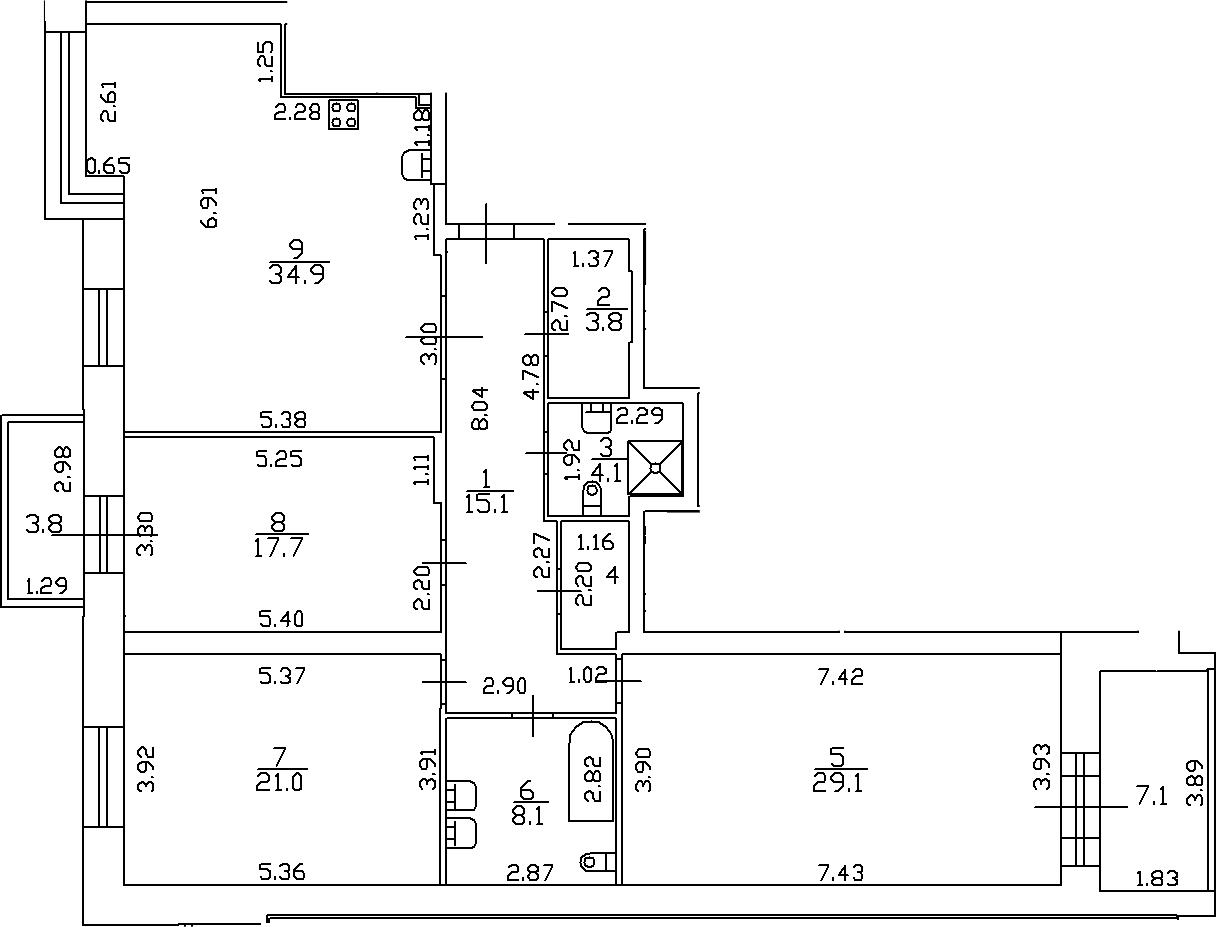4Е-комнатная, 141 м²– 2