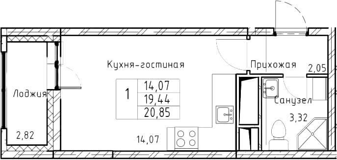 Студия, 20.85 м²