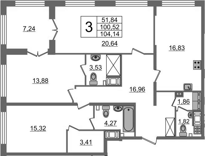 3-комнатная, 100.52 м²– 2