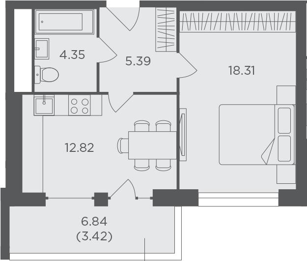 1-к.кв, 44.29 м², 21 этаж