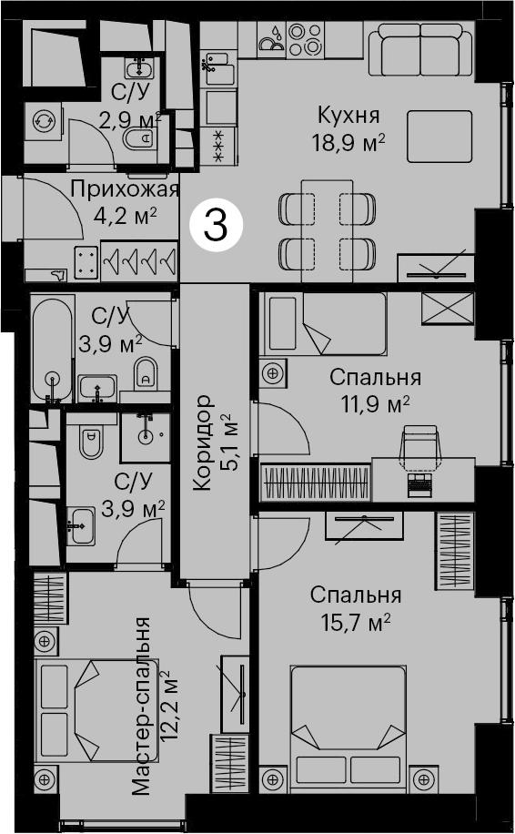4Е-комнатная, 78.7 м²– 2