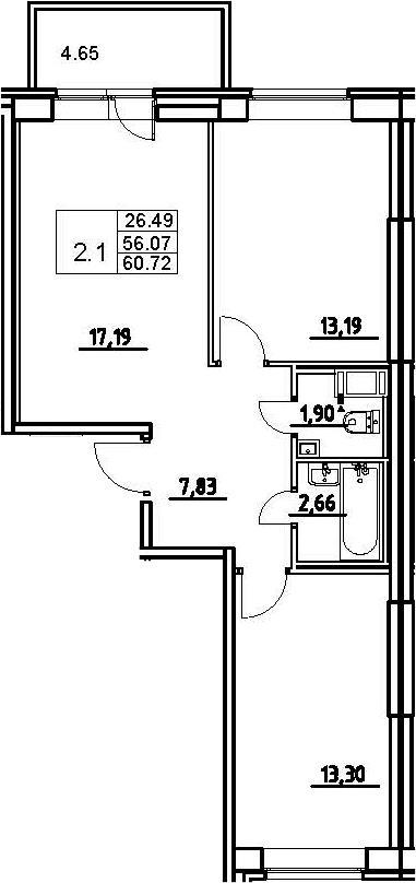 3-к.кв (евро), 60.72 м²