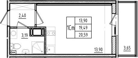 Студия, 19.49 м²– 2