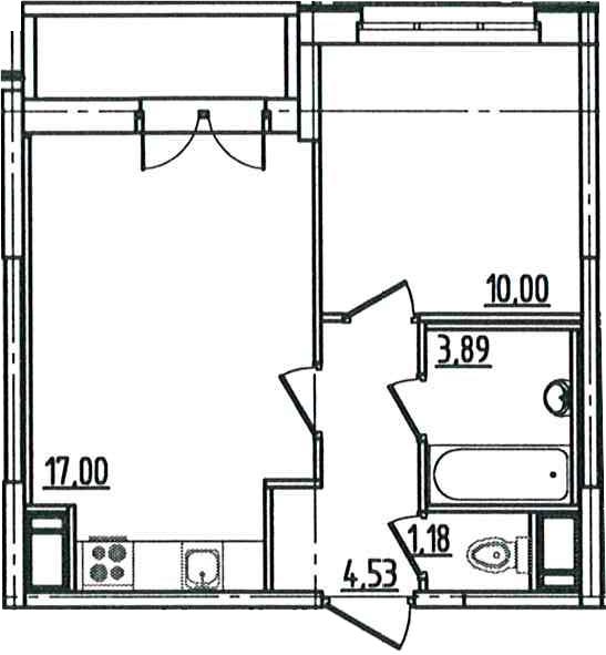 2Е-к.кв, 38.1 м², 3 этаж