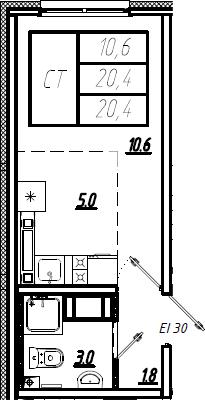 Студия, 20.4 м²– 2