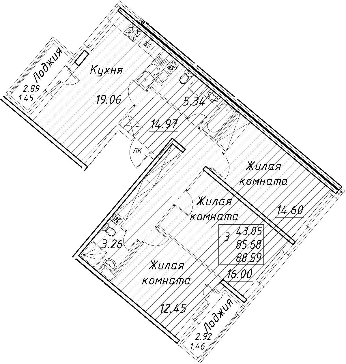 4Е-к.кв, 88.59 м², 11 этаж