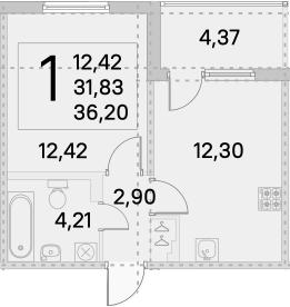 1-к.кв, 34.02 м²