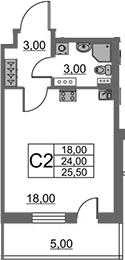 Студия, 24 м²– 2