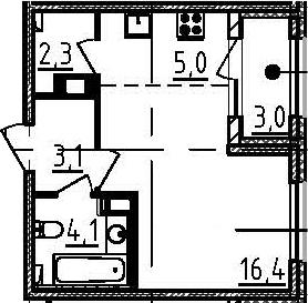 Студия, 32.4 м², 11 этаж