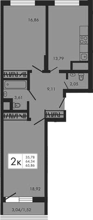 2-к.кв, 67.38 м²