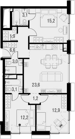4Е-комнатная, 82.8 м²– 2
