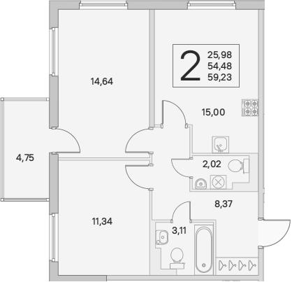 3Е-к.кв, 55.91 м², от 3 этажа
