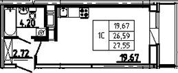 Студия, 27.55 м², 19 этаж