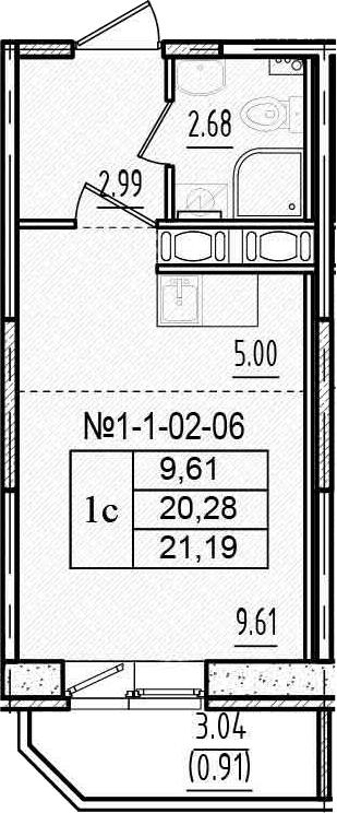 Студия, 23.31 м²