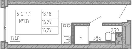 Студия, 16.27 м²– 2