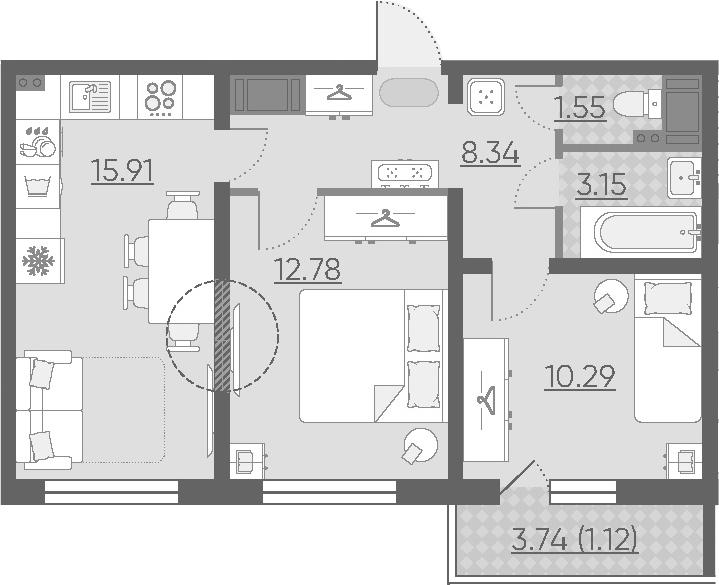 3Е-к.кв, 53.14 м², 2 этаж