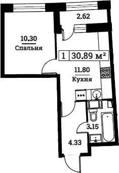 1-комнатная квартира, 30.89 м², 2 этаж – Планировка