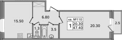 1-к.кв, 49.9 м²