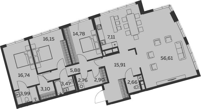 4Е-комнатная, 152.07 м²– 2