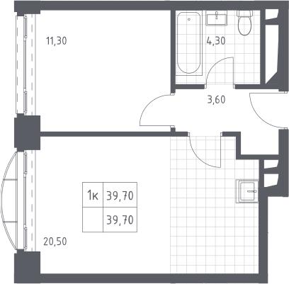 2Е-к.кв, 39.7 м², 13 этаж
