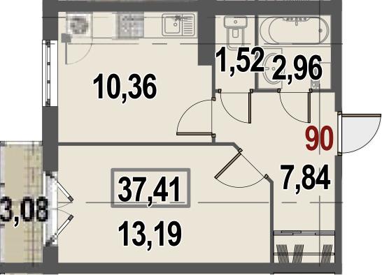 1-комнатная, 37.41 м²– 2