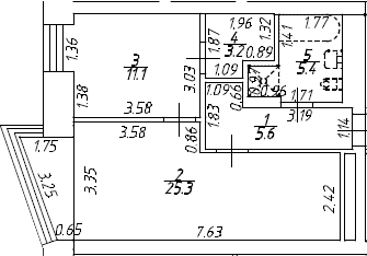 2Е-комнатная, 50.6 м²– 2