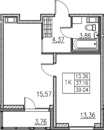 2Е-комнатная, 39.04 м²– 2