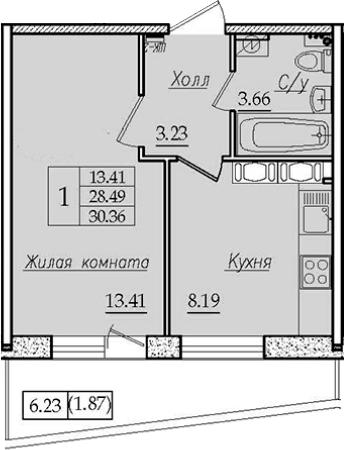1-к.кв, 30.36 м², 9 этаж
