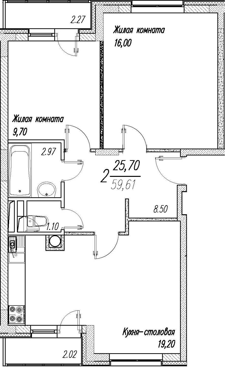 3Е-комнатная, 59.61 м²– 2