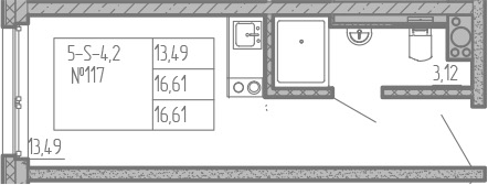 Студия, 16.6 м²– 2