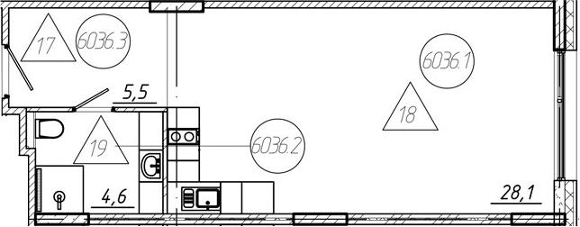 Студия, 38.2 м²