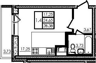 Студия, 24.89 м²– 2