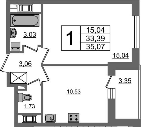 1-к.кв, 33.39 м²