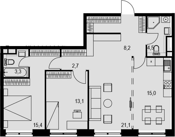 4Е-к.кв, 83.3 м², 20 этаж