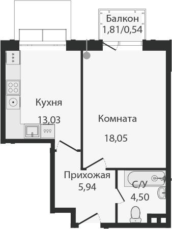 1-комнатная, 42.06 м²– 2