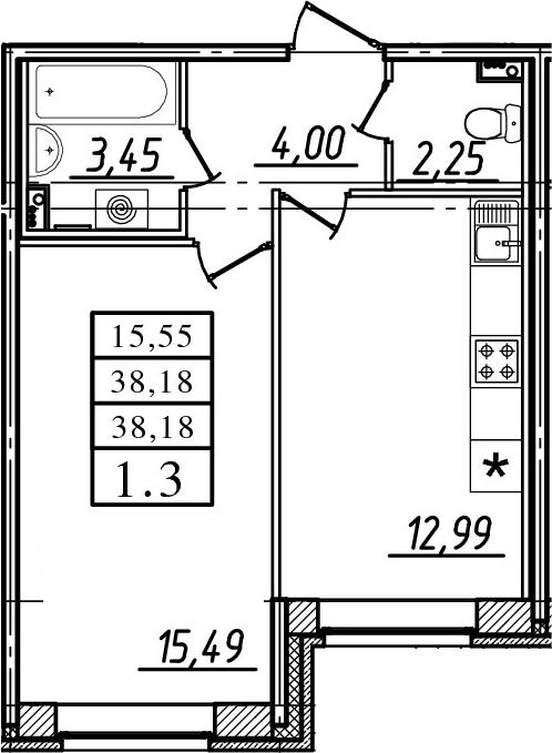 1-комнатная, 38.18 м²– 2