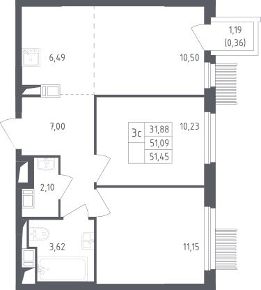 3Е-комнатная, 51.45 м²– 2