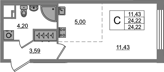 Студия, 24.22 м²