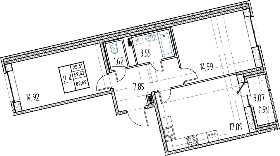 3Е-комнатная, 59.62 м²– 2