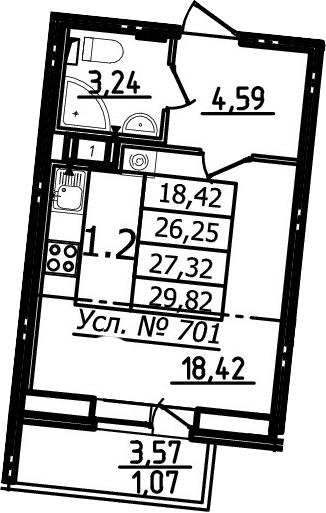 Студия, 26.25 м²