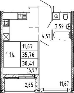 2Е-комнатная, 38.41 м²– 2