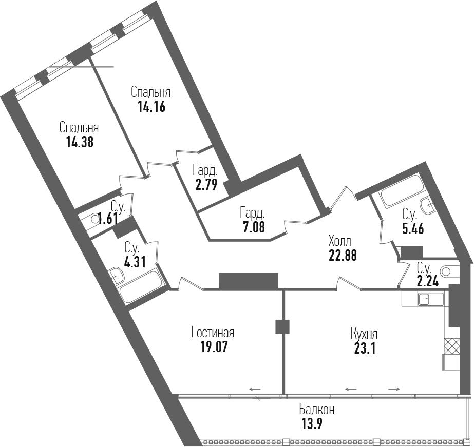 4-к.кв (евро), 130.98 м²