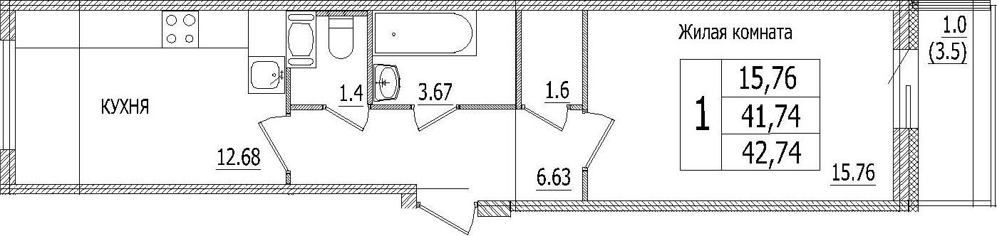 1-к.кв, 45.07 м²