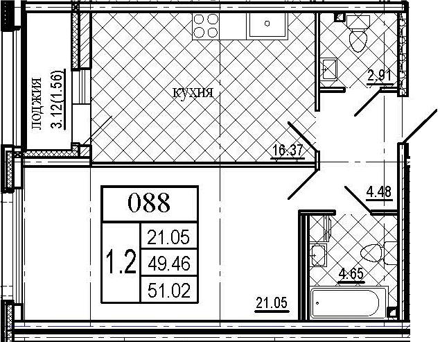 2Е-комнатная, 51.02 м²– 2